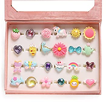 PinkSheep Little Girl Jewel Rings in Box Adjustable No Duplication Girl Pretend Play and Dress Up Rings  24 Lovely Ring