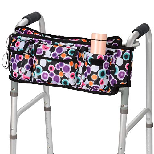 supregear Walker Bag, Folding Walker Basket Organizer Pouch Tote with Multiple Pockets and Zippered Compartment for Walker Rollator Scooters Wheelchair, Hook & Loop Design Storage Bag (Purple)