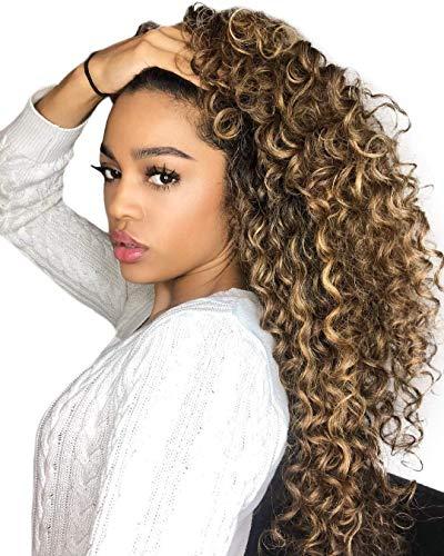 Hetto Clip in Curly Hair Extensions 22 Zoll 7 Stücke 100G Extension Haarverlängerung Clips #4 Dunkelbraun mit #27 Karamellblond Natürliche Welle Billige Echthaar Extensions Clip in