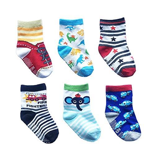 6 par/Lote 0 a 6 años Calcetines de Barco Antideslizantes de algodón para niños y niñas Calcetines de Chico de Piso de Corte bajo con empuñaduras de Goma Cuatro Estaciones-a47-0 to 12 M