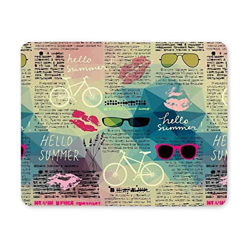 Hipster Hallo Sommer Lip Prints Fahrrad und Sonnenbrille auf Zeitung Rechteck rutschfester Gummi Komfortable Computer Mauspad Gaming Mousepad Matte mit Designs für Office Home Woman Man