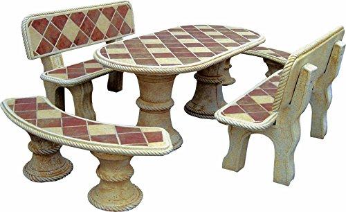 AnaParra Conjunto DE Mesa EN Piedra Oval 194cm.con Azulejos Mod.Sauce