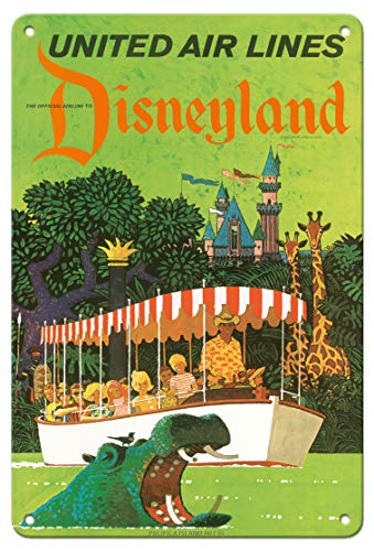 United Air Lines retro jungle cruise ad for Disneyland ride poster