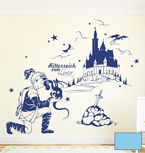 Wandtattoo Wandaufkleber Drachenhüter Ritter mit Namen M1614 - ausgewählte Farbe: *Lichtblau* - ausgewählte Größe: *L - 102cm breit x 84cm hoch*