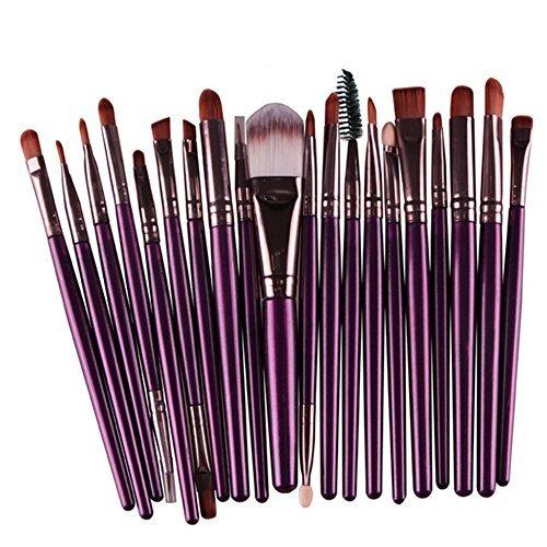 Gespout 20PCS Pinceau de maquillage Femme Différents styles Professionnel Maquillage Outils Ombre des yeux Blush (Violet+Brown)