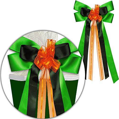 alles-meine.de GmbH große 3D Effekt - Schleife - für Schultüte - grün & orange - 24 cm breit u. 50 cm lang - mit edlen Satin Bändern + Tüllband - für Geschenk und Zuckertüte - Ge..