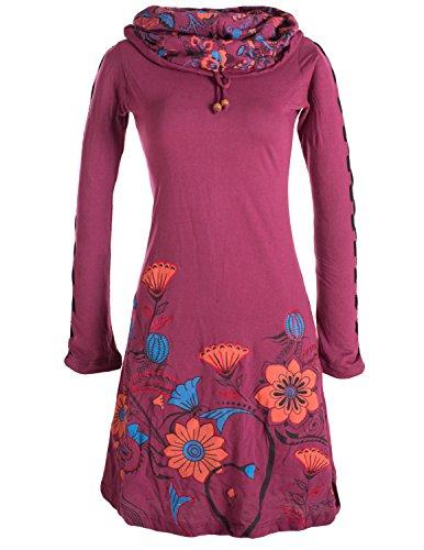 Vishes - Alternative Bekleidung - Langärmliges Blumenkleid aus Baumwolle mit Kapuzenschalkragen dunkelrot 38