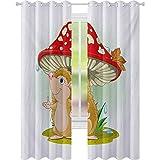 Cortinas opacas estampadas, lindas cortinas de erizo que se refugian de la lluvia bajo un gran tamaño de setas vívidas, 2 paneles de ancho de 52 x 84 cortinas de ventana para sala de estar, multicolor