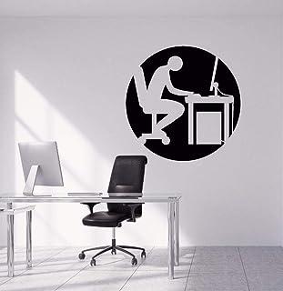 Bureau Stickers Muraux Amovible Personnes Travaillant Dur Silhouette Sticker Bureau Mur Art Mural Design Bureau Vinyle Dec...