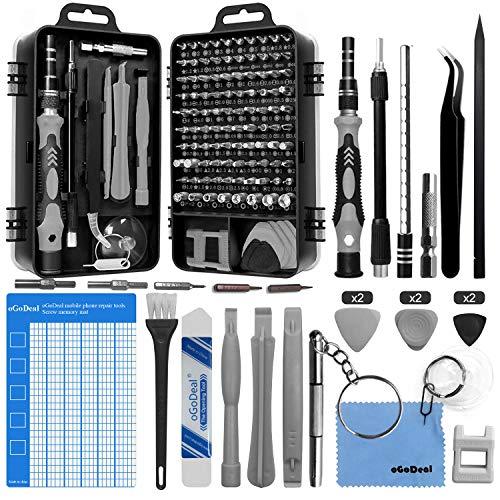 oGoDeal 127 en 1 Juego de Destornilladores de Precisión,Kit de Bricolaje Herramientas Profesional con Magnetizador para iPhones, Laptops, Reloj Juguetes Joyas,Teléfono, Xboxs, TV,Gafas, Cámara (Gris)