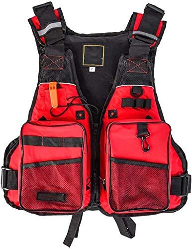 Safety vests LQ Multi Bolsillos Chaleco de Pesca, Pesca con Mosca al Aire Libre del Chaleco de Verano de Malla Gilet Camping Chaqueta Ajustable (Color : Red, Size : One Size)