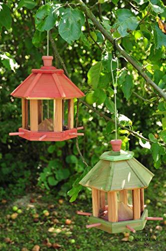 2x Vogelhaus,Futterhaus-Futterstation,mit Beleuchtung Garten - mit LED-Licht,romantischer Lichteffekt im Doppelpack,Nistkasten LACHSROT+ grün Futterfläche + Dach, für Vögel,WINTERFEST-mit
