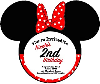 Minnie Mouse Themed Red Bow Invitations 6pk