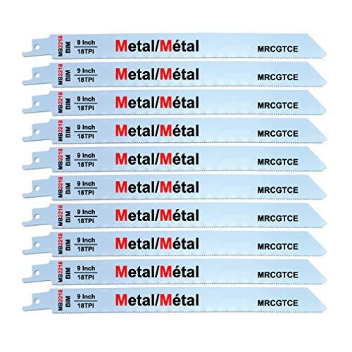 "MRCGTCE Metal Cutting Reciprocating Saw Blades, 9"" 18-TPI10-Piece"