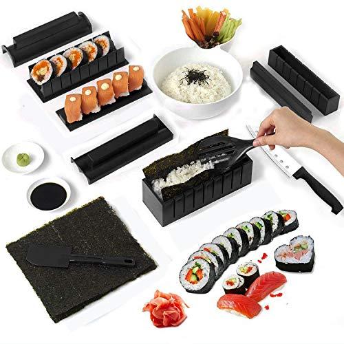 CHINN Sushi Maker Kit, DIY 10-teiliges Sushi Werkzeugset Reiskuchen Rollform Sushi Form DIY Sushi Set Sushi Rollen – einfach und lustig – Sushi Rollen Maker Maki Roll Sushi Roller Schwarz