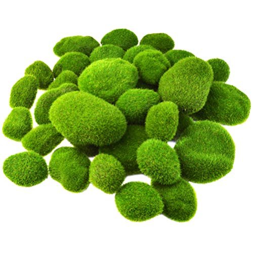 Artificial Rock for Moss, Jerbro 36pcs Decorative Faux Green Stones Assorted Sized for Floral Arrangements and Crafting