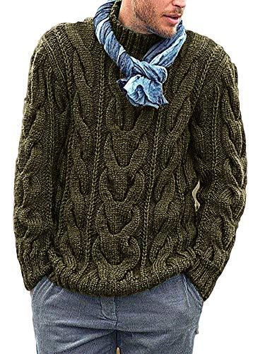Gemijacka Pullover Herren Langarm Rollkragen Strickpullover Grobstrick Zopfmuster Sweatshirt Regualr Fit Herren Sweater