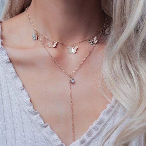 Sethain Boho Cristal Collar Oro Mariposa Colgante Cadena Largo Collares Joyería para mujeres y niñas