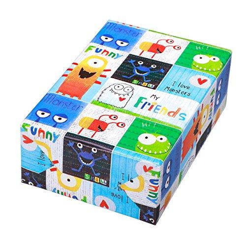 Geschenkpapier Kinder Rolle 50 cm x 50 m, Motiv Spencer, lustiges und buntes Monster-Design. Für Geburtstag, Kinder.