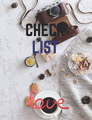 Prioirities Check List & Notes, Vintage flat lay top view retro camera flowers knitted clothes office plaster desk table autumn background cover, 100 pages - Large(8.5 x 11 inches)