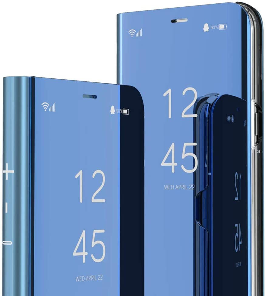 ISADENSER Samsung A71 5G Case Galaxy A71 5G Case for Women Case With Clear View Flip Plating Mirror Makeup Glitter Slim Shockproof Full 360 Protective Mirror Case for Samsung Galaxy A71 5G Mirror Blue