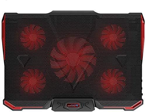 KaiKai USB Laptop Cooling Pad 5 Fans Cooler Stand Multi-Angle Adjustable External Coolpad Cooler Base Heatsink Bracket Fan Mat (Red)