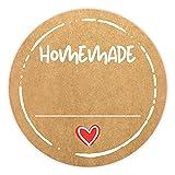 72 x Etiketten Marmelade (4cm klein) - Homemade Aufkleber - Selbstklebend, ablösbare Sticker - Klebeetiketten zum Beschriften für Selbstgemachtes - Einmachetiketten in Kraftpapier Optik -...
