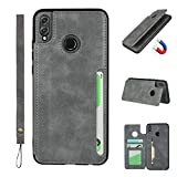 Jaorty Huawei Honor 8X Luxury PU Leather Case,Credit Card Holder,Cash Slots,Stand Function Soft TPU Back Wallet Case Flip Wrist Strap Multi-Function Durable Case for Huawei Honor 8X 6.4,Gray