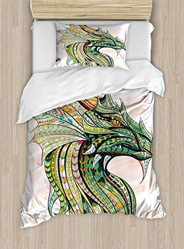 Ambesonne Celtic Duvet Cover Set, Head of Dragon with Ornate Effects on Grunge Backdrop Mythical, Decorative 2 Piece Bedding Set with 1 Pillow Sham, Twin Size, White Green