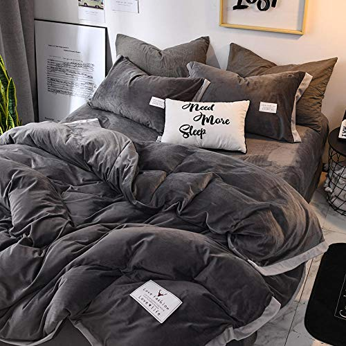 Shinon grey duvet covers king size,Autumn and winter thickened solid color gray bed sheet duvet cover Fala velvet bed sheet pillowcase-G_1.8m bed (4 pieces)