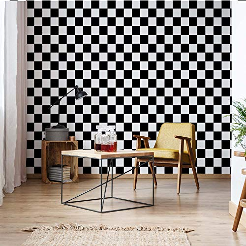 Schwarz-Weiß Karierte Muster Vlies Fototapete Fotomural - Wandbild - Tapete - 211cm x 91cm / 1 Teilig - Gedrückt auf 130gsm Vlies - 11207VET - Muster