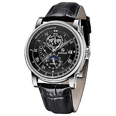 BERSIGAR Reloj mecánico clásico para Hombres Reloj automático a Prueba de Agua simulación para Hombres Reloj mecánico con Correa de Cuero Informal