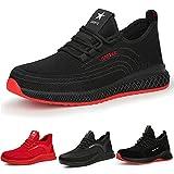 Zapatos de Trabajo Hombre Puntas de Acero Antideslizante Zapatos De Seguridad Mujer Ligeras Negro Rojo 36