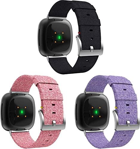 Correas para Relojes Nylon Compatible con Fitbit Versa 3 / Fitbit Sense, Correa de Reloj de NATO para Mujer y Hombre con Hebilla de Acero Inoxidable (3-Pack I)