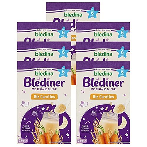 Blédina Blédîner, Céréales bébé Repas du Soir dès 6 Mois, Riz, Carottes,210g (Packx7)