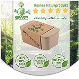 Green World Production Mantequera sin plástico y melamina de cáscara de arroz para 250 g de mantequilla, incluye labio de silicona para mantequilla, sin BPA, 100% biodegradable, 16 x 8,5 x 6,5 cm