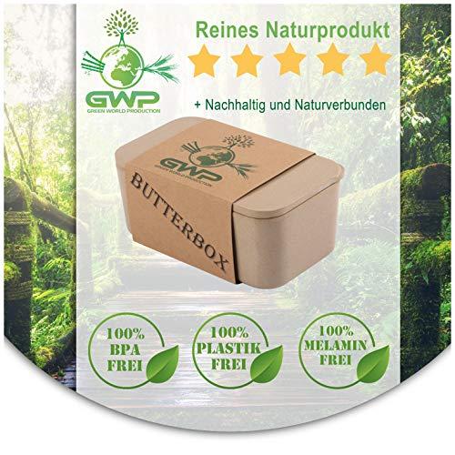 Green World Production Butterdose ohne Plastik und Melamin aus Reishülse für 250 g Butter inkl Silikon Dichtlippe Butterglocke BPA Frei 100% Biologische abbaubar 16X8,5X6,5 cm