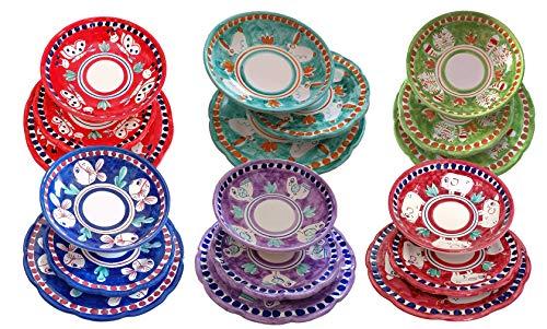 Piatti Vietri Ceramica vietrese Linea Animaletti 6 Coppe, 6 Piani, 6 Frutta