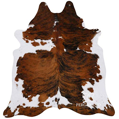 Tricolor Brazilian Cowhide Area Rug, Cowskin Leather Hide for Home Living...
