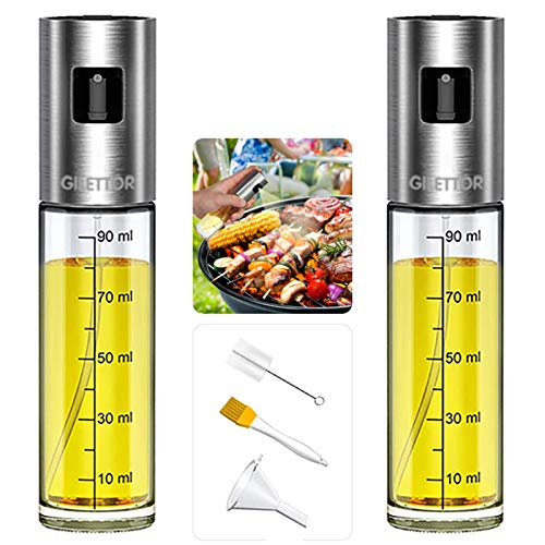 Olive Oil Sprayer for Cooking, GILETTOR Oil Vinegar Mister Dispenser Set with 100ML 3.4ounce, High Grade Glass Bottle, Stainless Steel, Sauce Pump Sprayer for BBQ, Salad, Baking, Roasting 2pack