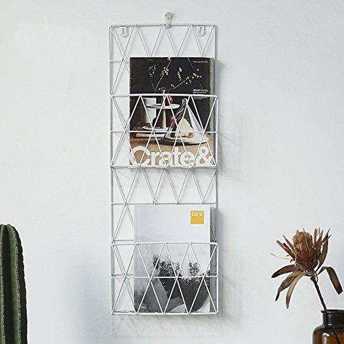 WAYER Wand-zeitschriftenhalter, Metall prospekthalter Magazin-Regale Kreativ Einfache Moderne Wall hangings Perforiert Wohnzimmer Büro und zu Hause-Weiß 26x8x70cm(10x3x28inch)