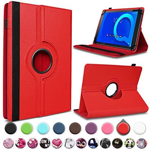 UC-Express Alcatel 1T 10 Tablet Hülle Tasche Schutzhülle Case Schutz Cover 360° Drehbar 10.1 Zoll Etui, Farbe:Rot