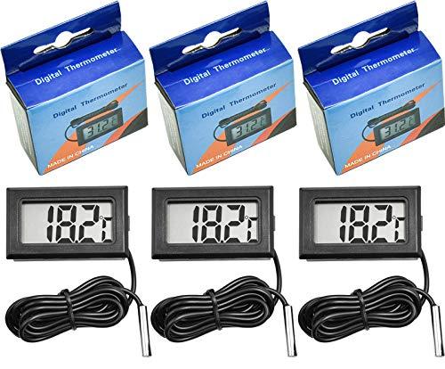 cococity Termómetro Digital LCD con Ventosa para sonda Cable Pez Depósito Agua Acuario Supply 3 Piezas Negro