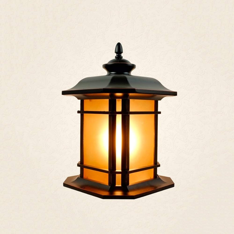 LifeX Antike 1-Licht Outdoor Gartenpfosten Licht Rasen Beleuchtung, Vintage Patio Sule Lampen mit einem E27 Sockel, wasserdicht, Gehuse aus Aluminiumguss, Glasplatten (Gre   S)