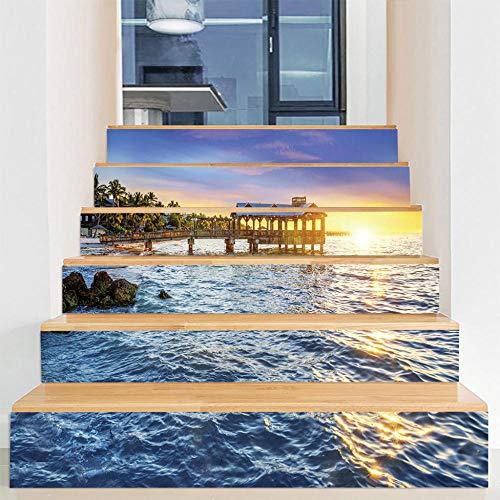 Pegatinas de escalera DIY autoadhesivas impermeables extraíbles para gabinetes de cocina, escaleras, baño, cocina, decoración del hogar (100 x 18 cm x 6 piezas) The Sea