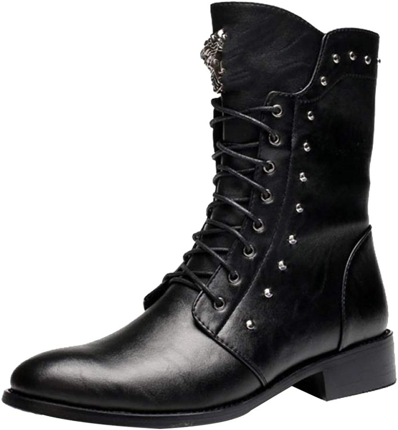 6cd776170c0 Tooling Boots Plus Velvet Zipper Martin Boots Pointed Long Rubber Riding  Boots Stage shoes Black-