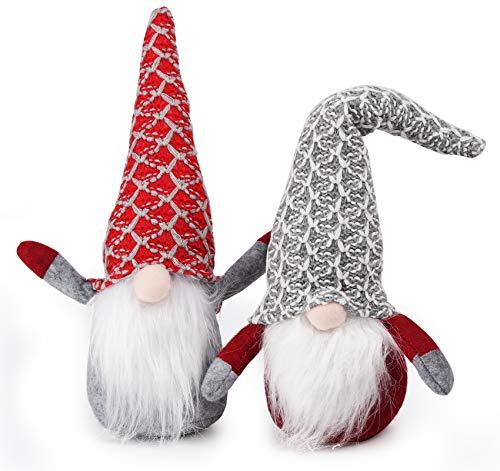 Agoer Weihnachten Deko Wichtel 30cm Hoch x 2, Schwedischen Weihnachtsmann Santa Tomte Gnom Rot grau - Schwedische Wichtel Skandinavischer Zwerg Geschenke für Festliche Ostern Weihnachten