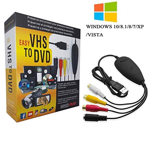 VHS to Digital Converter for Windows 10, USB2.0 Video Audio Capture Card Grabber Device, VHS to DVD Converter Support Windows 10/8/7/XP/VISTA/Convert Analog Video to Digital Format