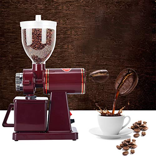 YaeMarine Professional Electric Coffee Grinder Coffee Bean Powder Grinding Machine Coffee Grinder Mill Grinder Thickness Adjustable High Quality (Red)