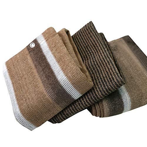 Filet d'ombrage Tissu en Tissu D'ombrage Domestique avec Œillets, Filet Résistant Aux UV de Cryptage pour Villa/Plante de Jardin/Toit, Rayures Marron et Blanches (Size : 1.8×1.8m)